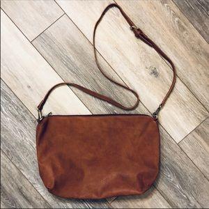 Cognac Faux Leather Crossbody Bag